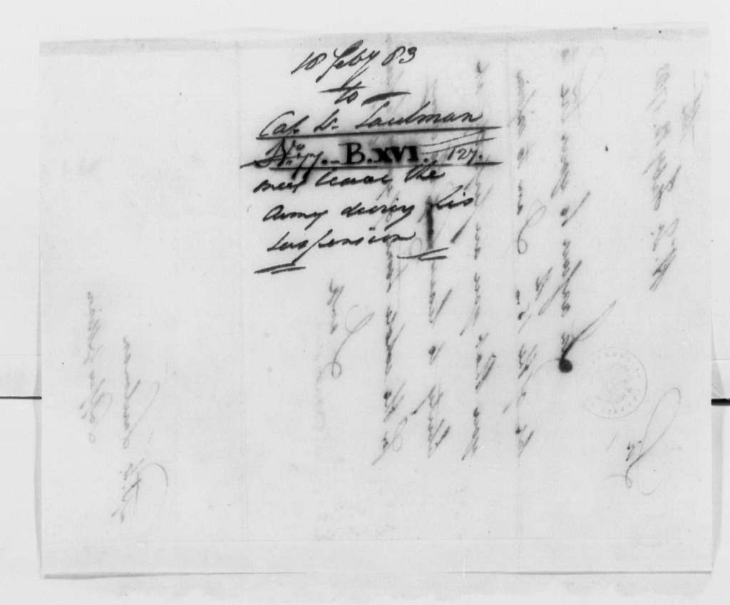 George Washington Papers, Series 4, General Correspondence: George Washington to Peter Taulman, February 18, 1783