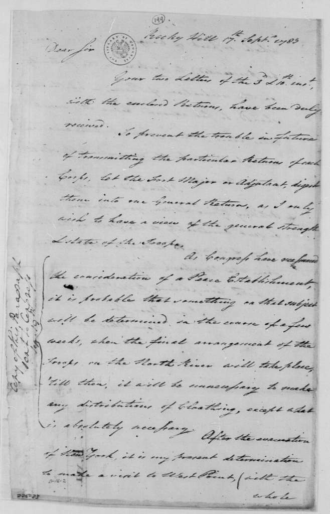 George Washington Papers, Series 4, General Correspondence: George Washington to Henry Knox, September 17, 1783