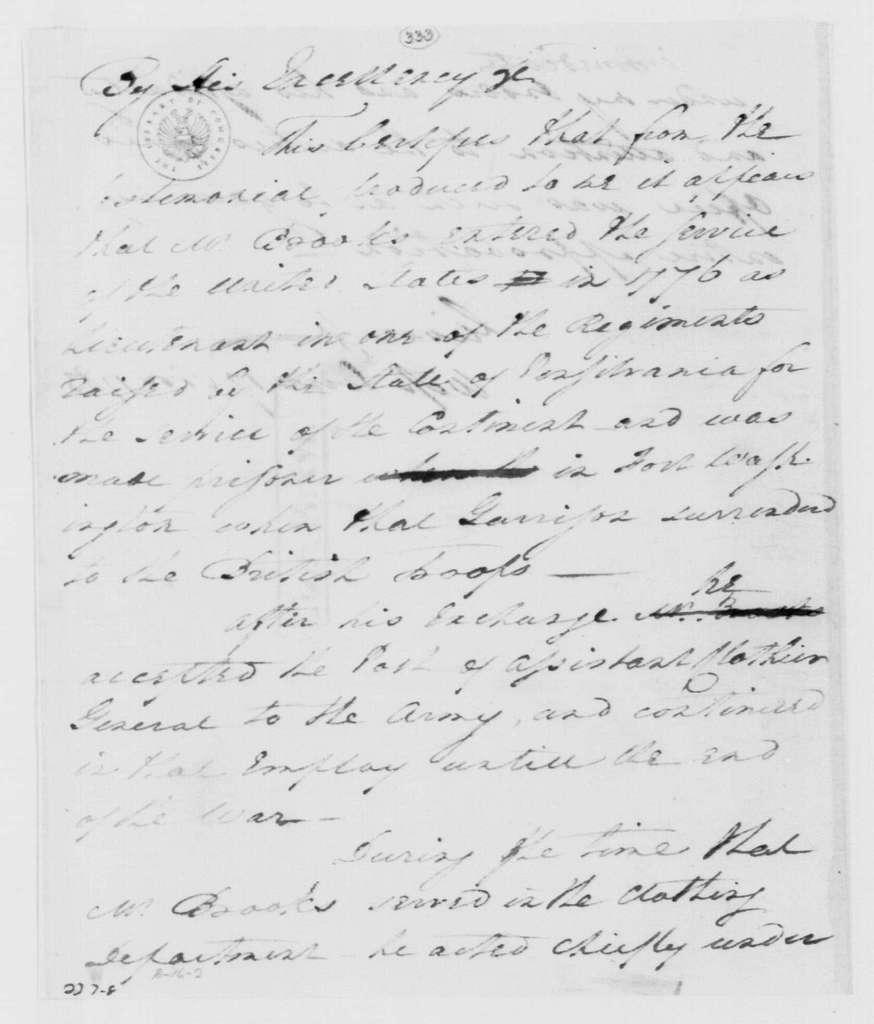 George Washington Papers, Series 4, General Correspondence: George Washington to David Brooks, November 17, 1783
