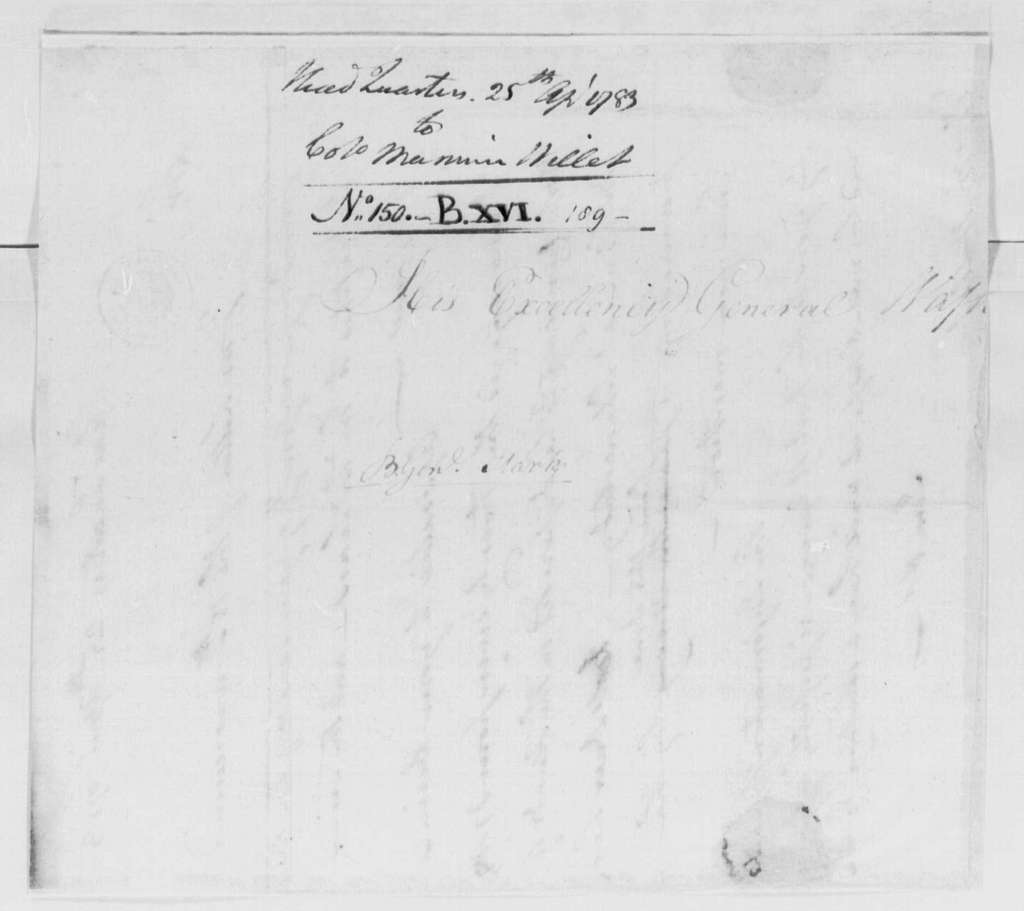George Washington Papers, Series 4, General Correspondence: George Washington to Marinus Willett, April 25, 1783