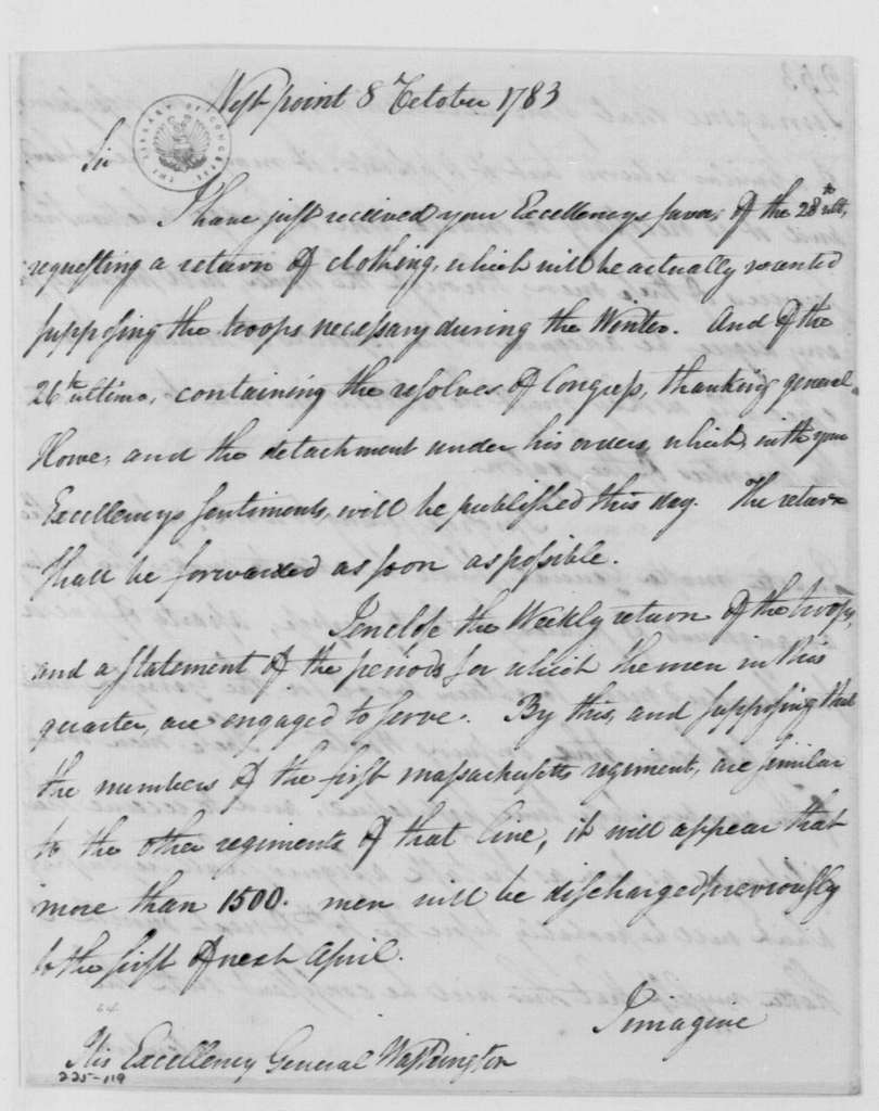 George Washington Papers, Series 4, General Correspondence: Henry Knox to George Washington, October 8, 1783