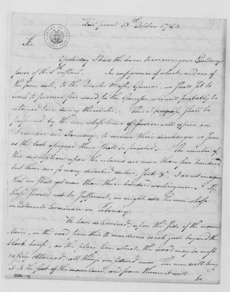 George Washington Papers, Series 4, General Correspondence: Henry Knox to George Washington, October 15, 1783