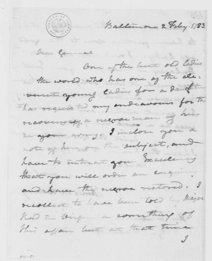 George Washington Papers, Series 4, General Correspondence: James McHenry to George Washington, February 2, 1783