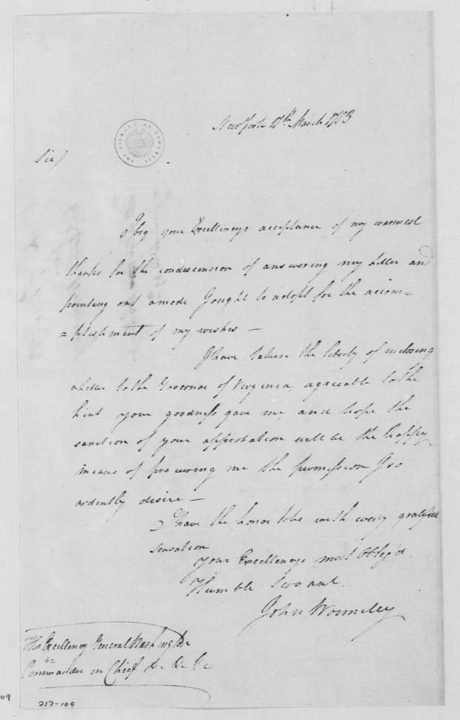 George Washington Papers, Series 4, General Correspondence: John Wormeley to George Washington, March 17, 1783