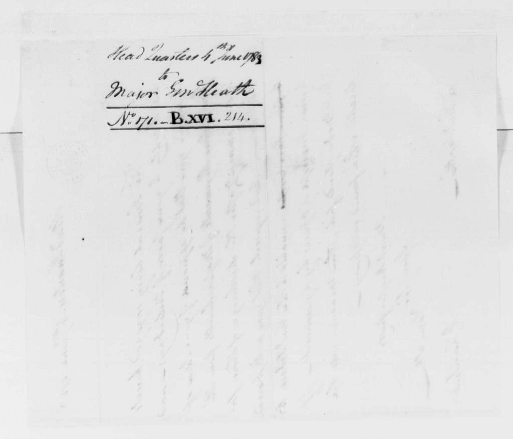 George Washington Papers, Series 4, General Correspondence: Jonathan Trumbull Jr. to William Heath, June 4, 1783