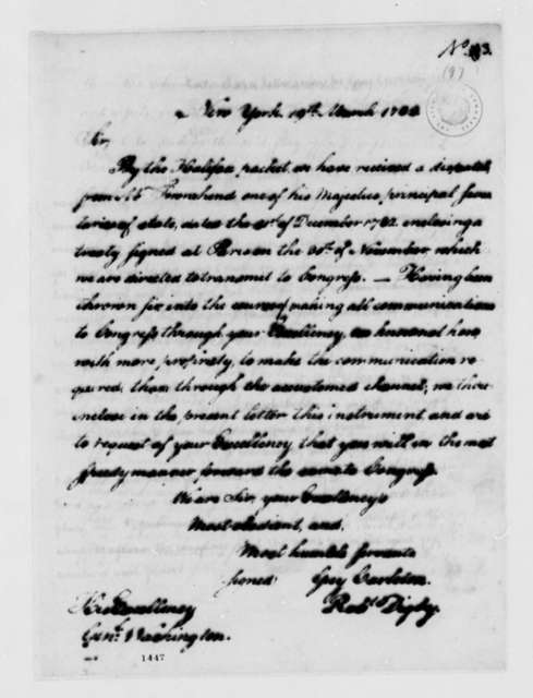 Guy Carleton and Robert Digby to George Washington, March 19, 1783