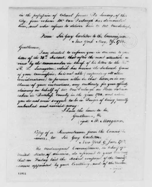 Guy Carleton to American Commissioners, May 29, 1783