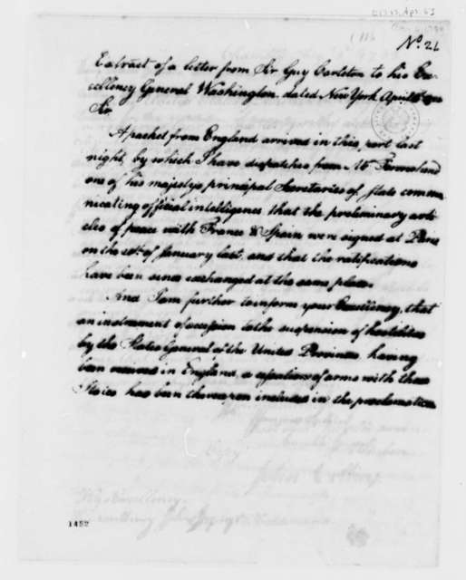 Guy Carleton to George Washington, April 6, 1783