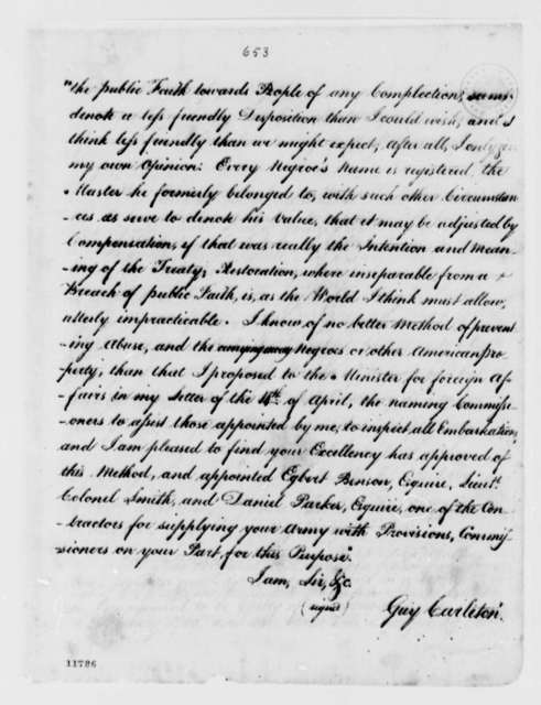 Guy Carleton to George Washington, May 12, 1783