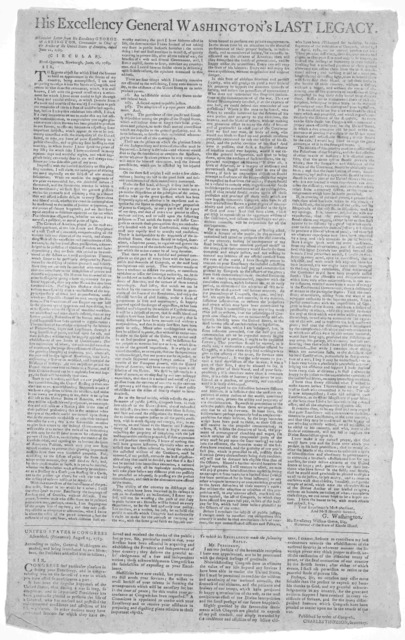 His Excellency George Washington's last legacy. A circular letter ... dated June 11, 1783. [Fish-Kill? Printed by Samuel Loudon? or Poughkeepsie, printed by John Holt? 1783].