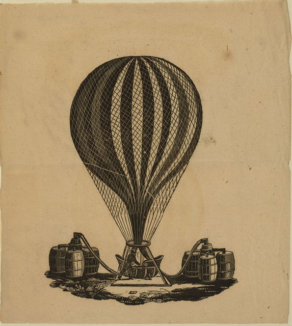 [Inflated balloon with filling apparatus attached to barrels of gas]