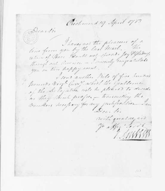 Jacquelin Ambler to James Madison, April 19, 1783.