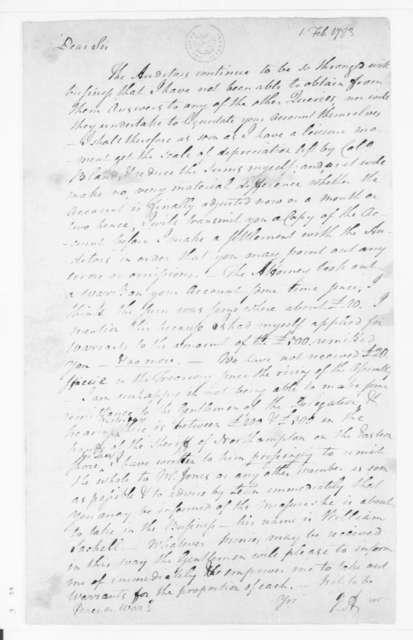 Jacquelin Ambler to James Madison, February 1, 1783.