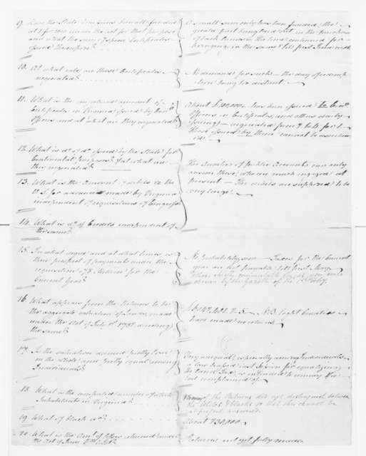 Jacquelin Ambler to James Madison, February 8, 1783. with Answers to Queries on Virginia Currency.