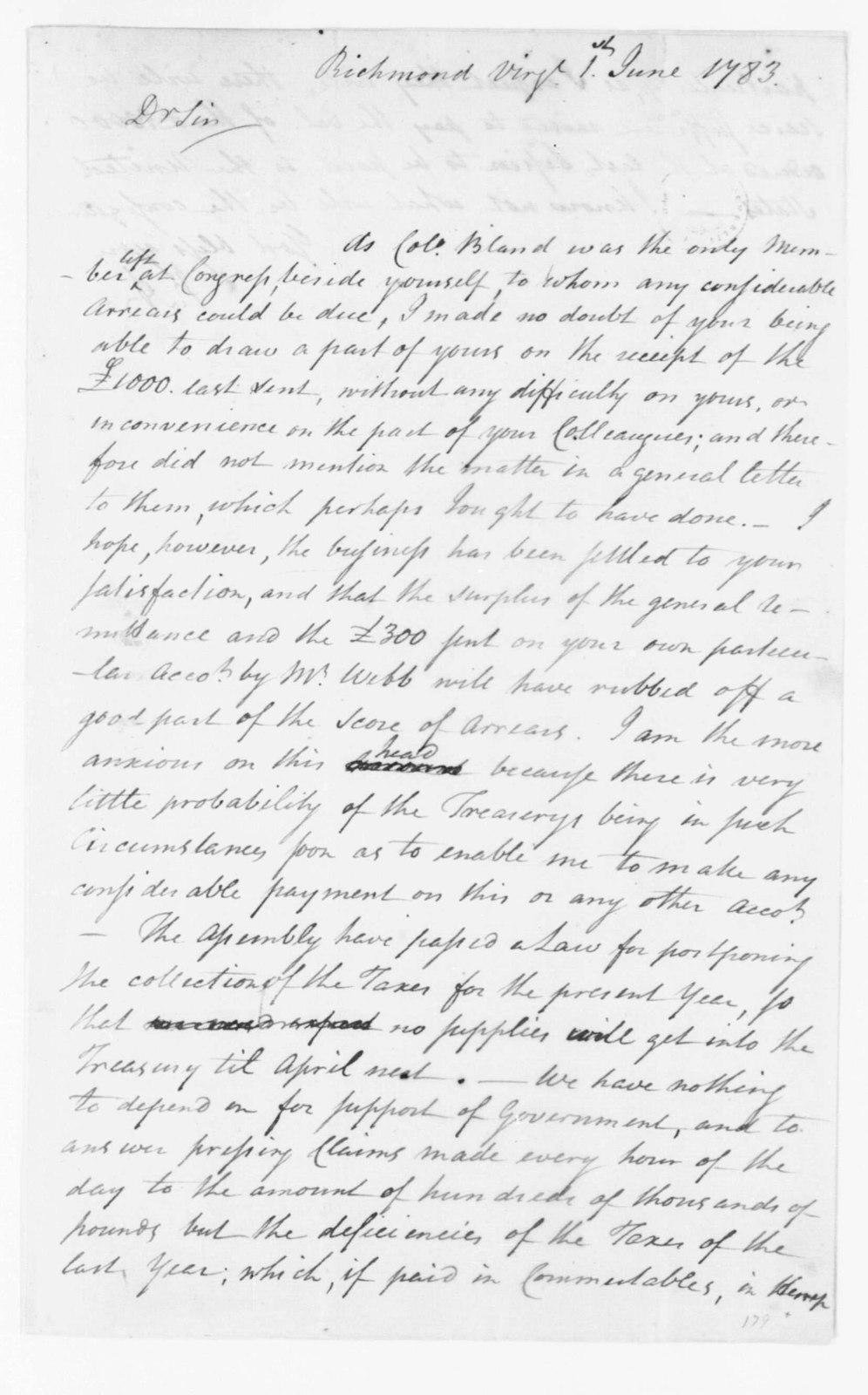 Jacquelin Ambler to James Madison, June 1, 1783.