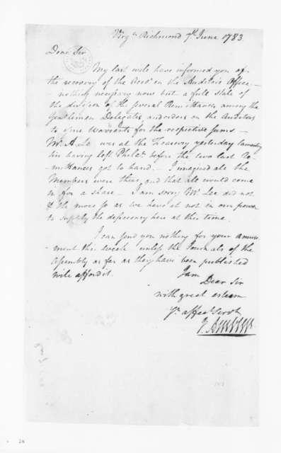 Jacquelin Ambler to James Madison, June 8, 1783.