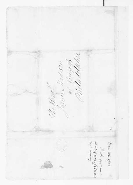 Jacquelin Ambler to James Madison, March 22, 1783.