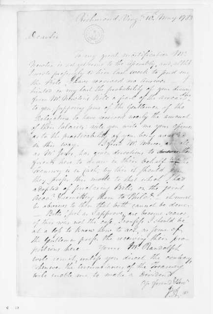 Jacquelin Ambler to James Madison, May 10, 1783.