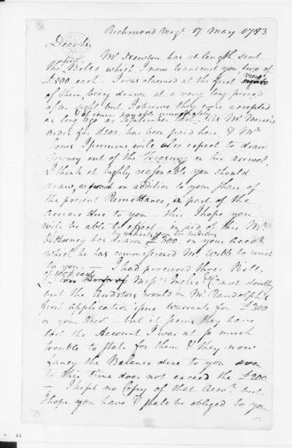 Jacquelin Ambler to James Madison, May 17, 1783.