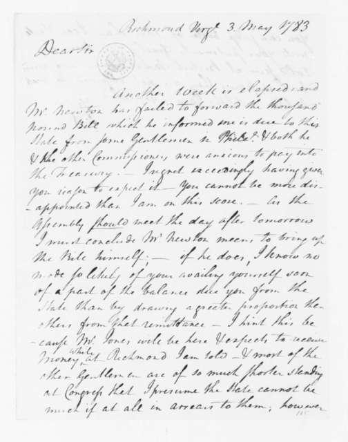 Jacquelin Ambler to James Madison, May 3, 1783.