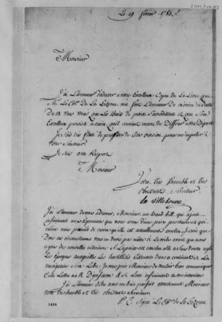 Jacques-Aime La Villebrune to Thomas Jefferson, February 19, 1783, with Note from La Luzerne; in French
