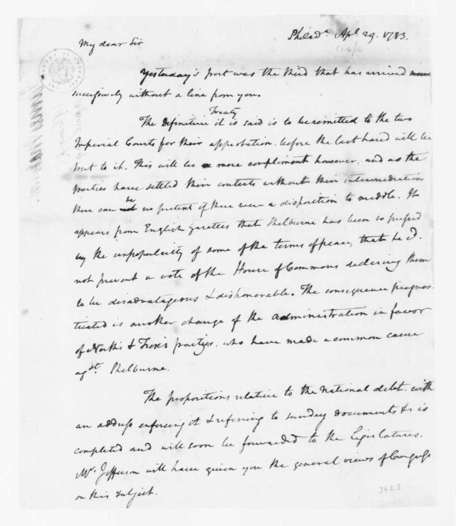 James Madison to Edmund Randolph, April 29, 1783.