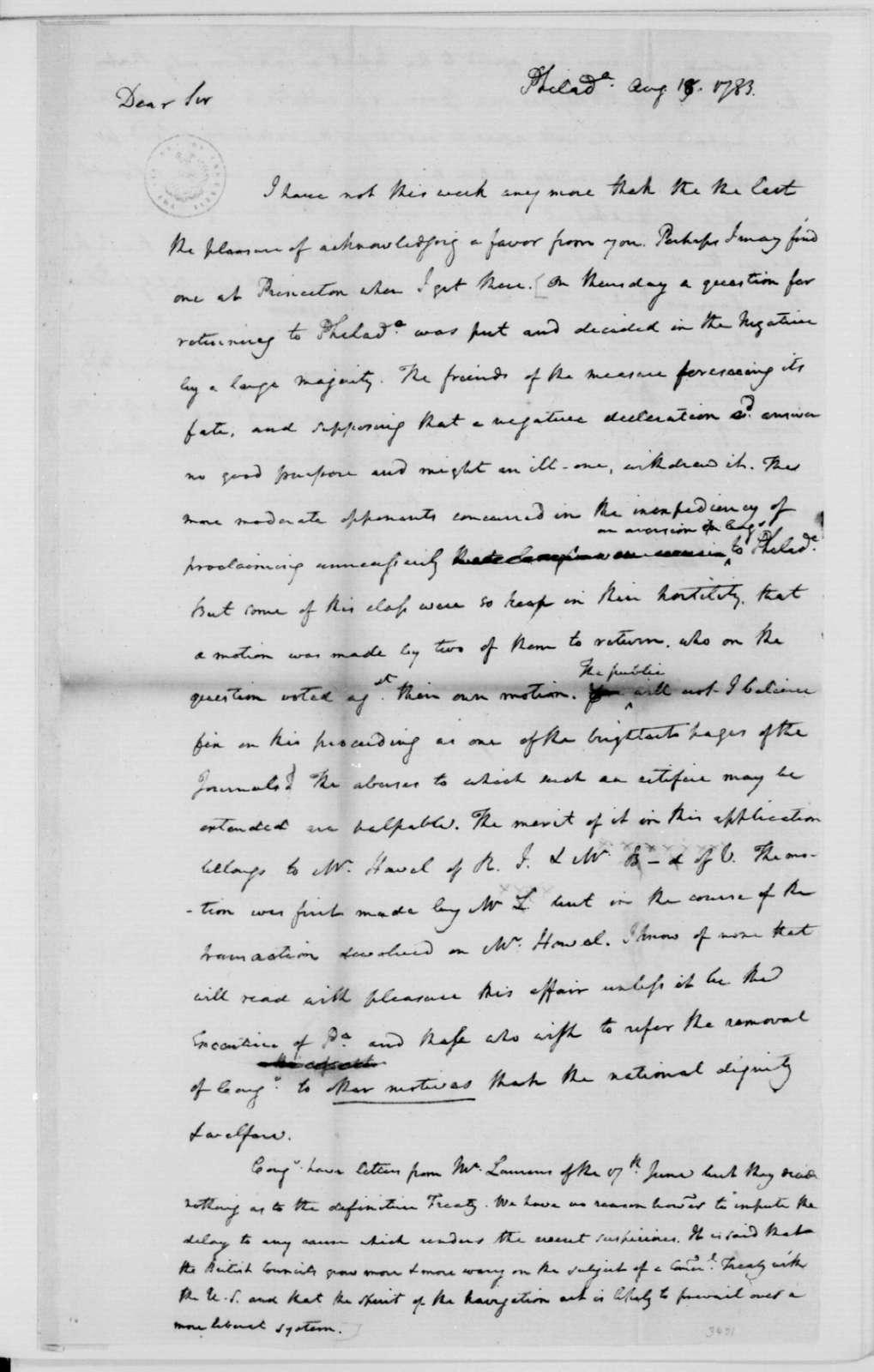 James Madison to Edmund Randolph, August 31, 1783.