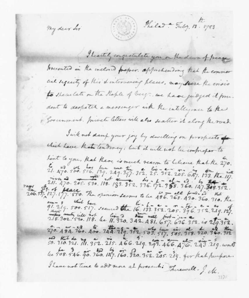 James Madison to Edmund Randolph, February 13, 1783. Partly in Cipher.