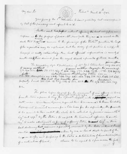 James Madison to Edmund Randolph, March 11, 1783. Partly in Cipher.