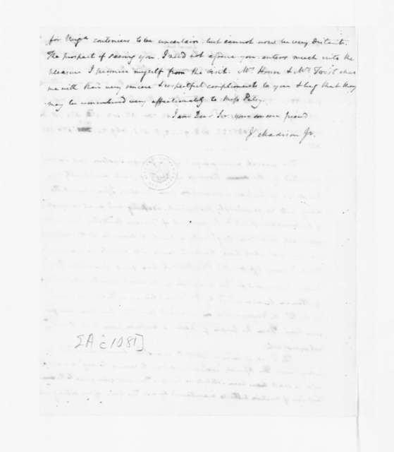 James Madison to Thomas Jefferson, June 14, 1783. Partly in Cipher.
