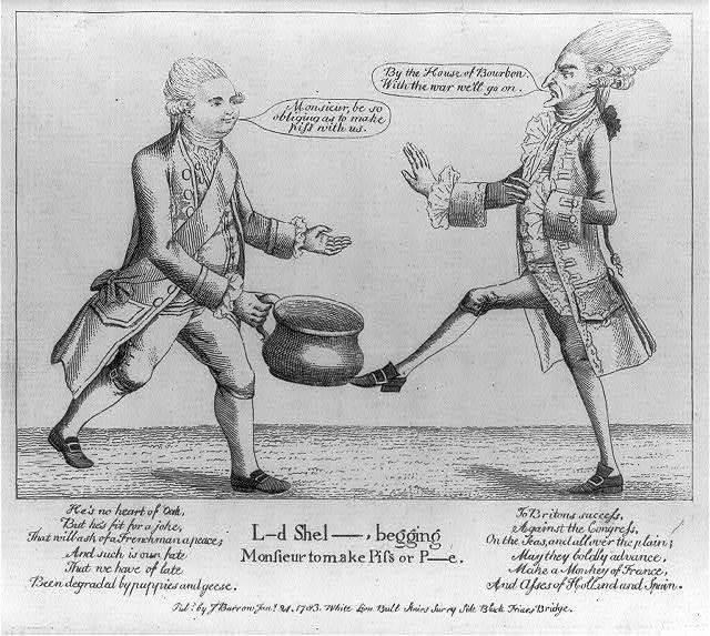 L--d Shel--, begging Monsieur to make piss or p--e