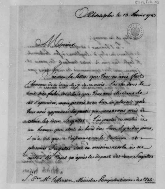 La Luzerne to Thomas Jefferson, February 13, 1783, in French