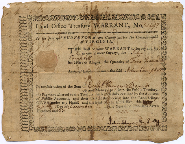 Land-Office Treasury Warrant no. 21617 for John Campbell
