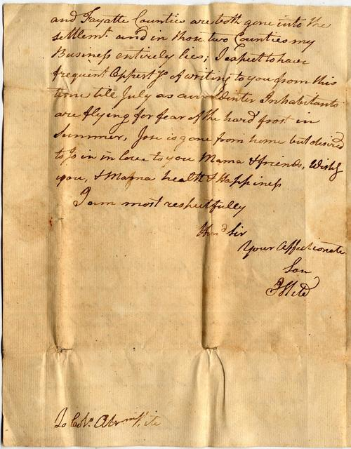 Letter from Isaac Hite to Abraham Hite