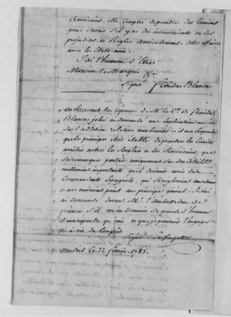 Marie Joseph Paul Yves Roch Gilbert du Motier, Marquis de Lafayette to Jose Monino, Conde de Floridablanca, February 19, 1783, with response from Floridablanca; in French