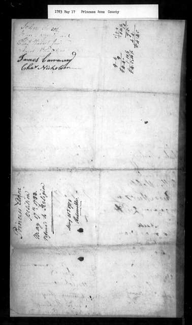 May 17, 1783, Princess Anne, Lynhaven Parish, for dissolution of vestry.
