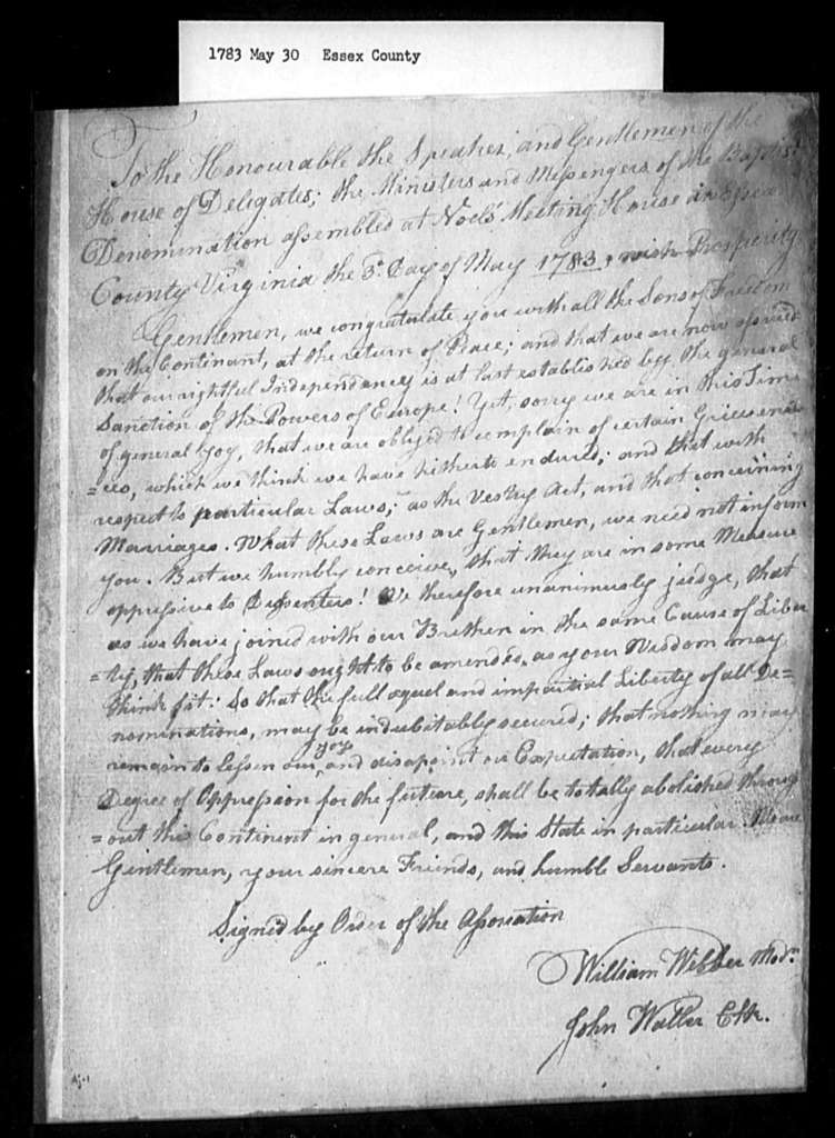 May 30, 1783, Essex, Baptists, opposed to inequality of vestry and marriage laws.