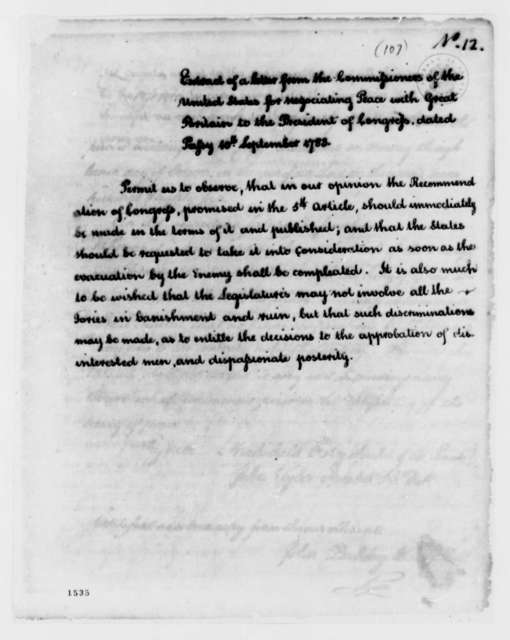 Peace Commissioners to Congress, September 10, 1783, Extract