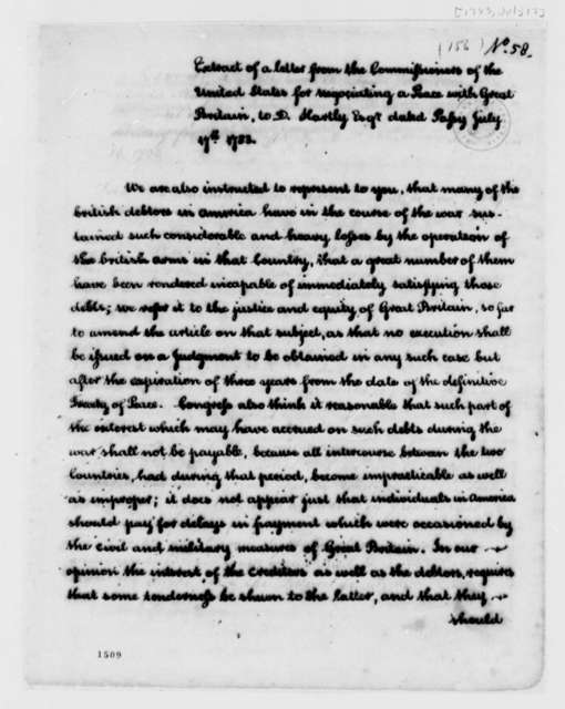 Peace Commissioners to David Hartley, July 17, 1783, Extract