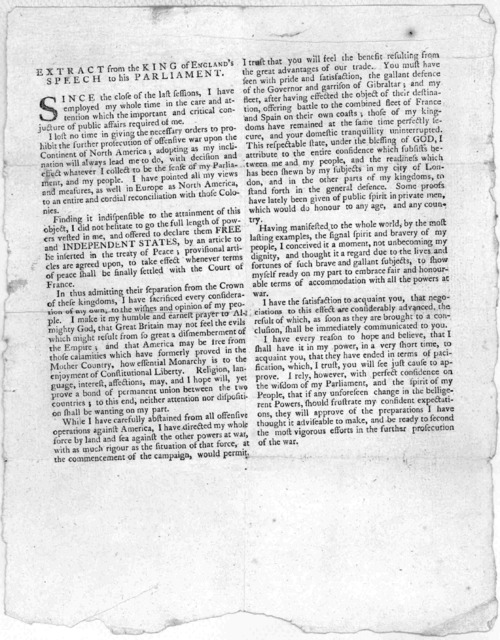 Philadelphia, February 13, By a gentleman just arrived in this City from New-Jersey, we have received his Britannic Majesty's speech to both Houses of Parliament. ... [Philadelphia] Printed by E. Oswald, in Market-street [1783].