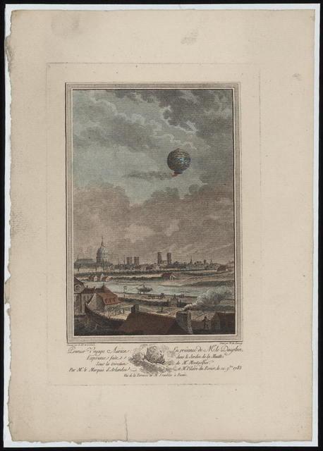 Premier voyage aërien en présence de Mr. le Dauphin / dessine par le Ch. de Lorimier ; gravé par N. de Launay.
