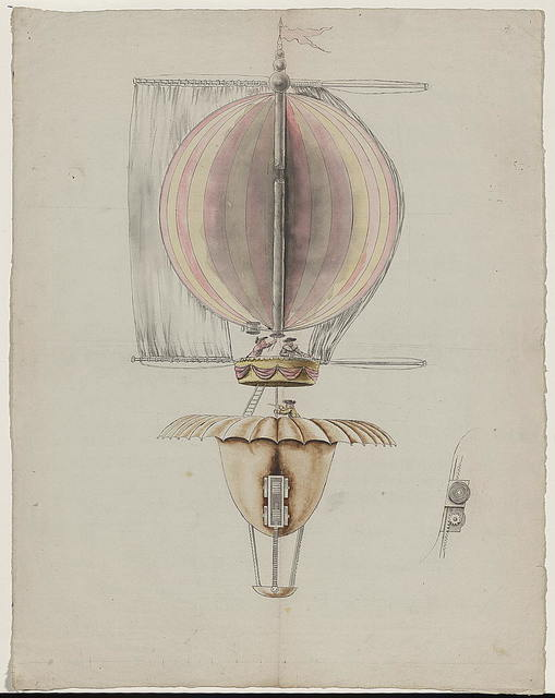 [Proposed design for balloon utilizing sails for propulsion, Paris, 1783]