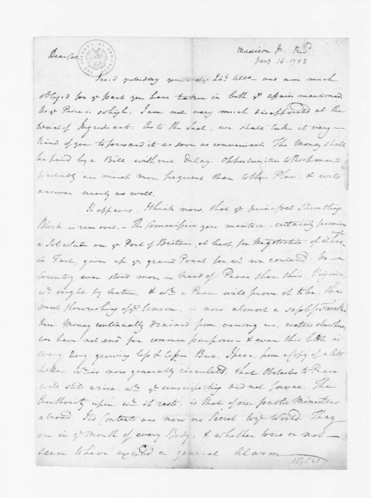 Reverend James Madison to James Madison, January 14, 1783.