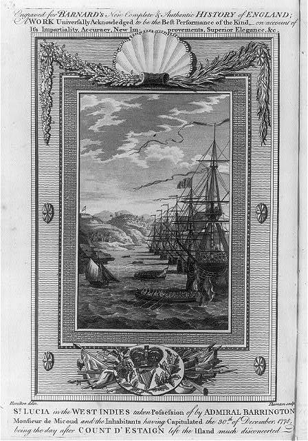 St. Lucia in the West Indies taken possession of by Admiral Barrington Monsieur de Micoud and the inhabitants having capitulated the 30th of December, 1778, being the day after Count d'Estaign left the island much disconcerted / Hamilton delin. ; Thornton sculp.