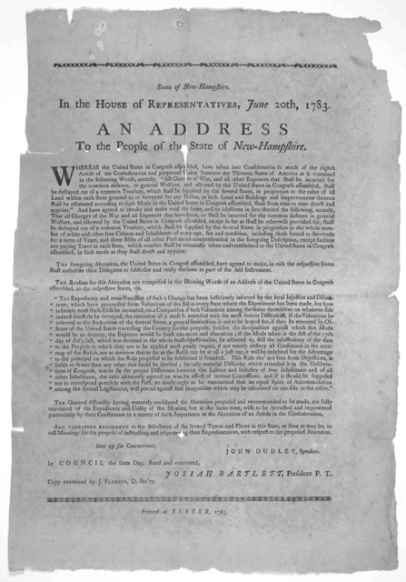 State of New Hampshire. In the House of representatives, June 20th, 1793. An addres to the people of the State of New-Hampshire. Whereas the United States in Congress assembled, have taken into consideration so much of the eighth article of the