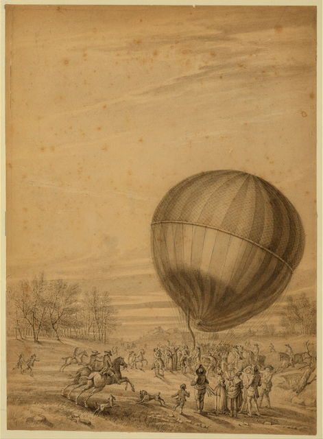 [The 'Aerostatic globe' balloon, belonging to Jacques Charles and Marie-Noel Robert, descending on the plain of Nesle, near Beaumont, France]