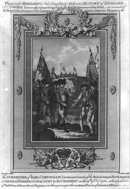 The surrender of Earl Cornwallis (Lieutenant-General of the British Army in North America) to General Washington & Count DeRochambeau, on the 19th of Octr. 1781 - whereby the posts of York-Town & Gloucester in Virginia, were then given up to the combined forces of America & France / Hamilton delin. ; Thornton sculp.