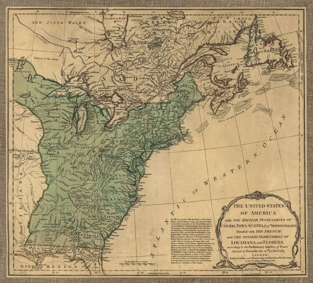 The United States of America with the British possessions of Canada, Nova Scotia, & of Newfoundland, divided with the French; and the Spanish territories of Louisiana and Florida according to the preliminary articles of peace signed at Versailles the 20th of Jany. 1783.