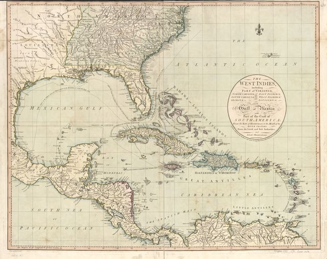 The West Indies, including part of Virginia, North Carolina, East Florida, South Carolina, West Florida, Georgia, Louisiana, and the Gulf of Mexico, with part of the coast of South America: From the Bay of Honduras, to the mouth of the River Oronoko.