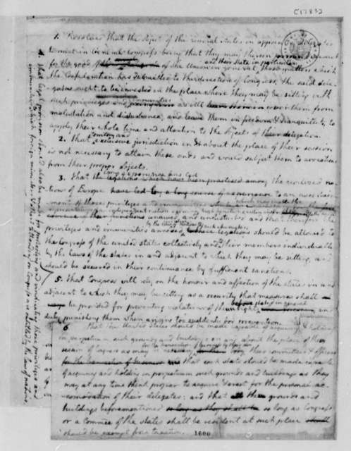 Thomas Jefferson, 1783, Draft of Congress's Resolution on Permanent Seat for Federal Government; with Copy